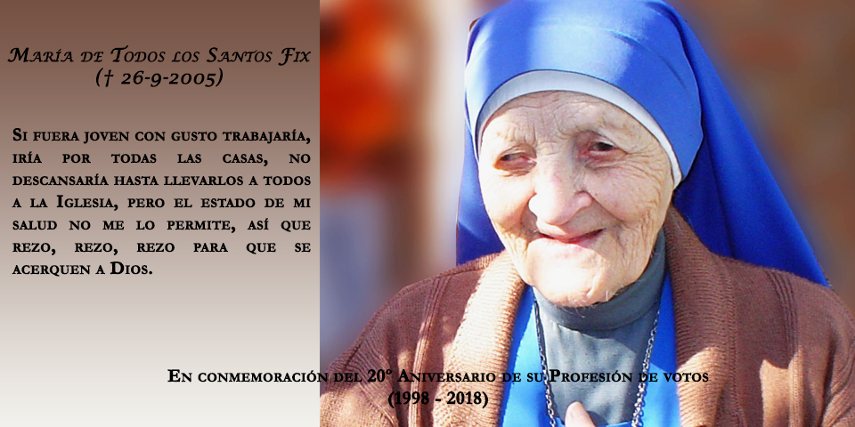 María de Todos los Santos Fix, SSVM - Confessor of the Faith
