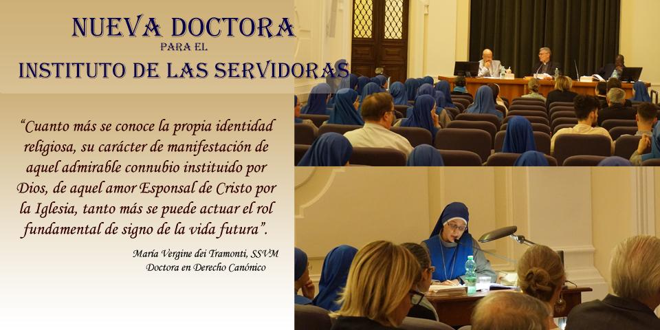 Nueva Doctora para el Instituto de las Servidoras - Hermana María Vergine dei Tramonti Simmermacher