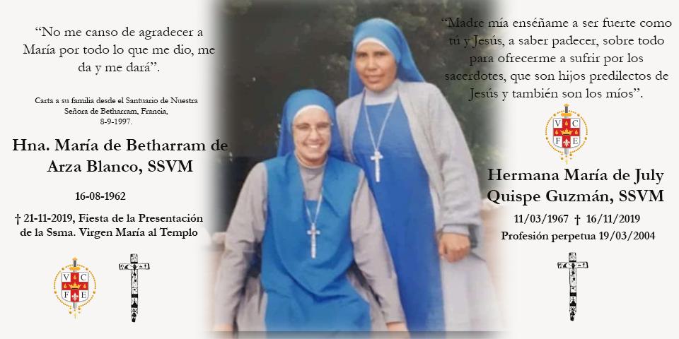 Fallecimiento de las Hnas. Maria de Betharram y Maria de July